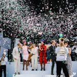 Confetti opening on stage at Melbourne Cup Carnival event photos